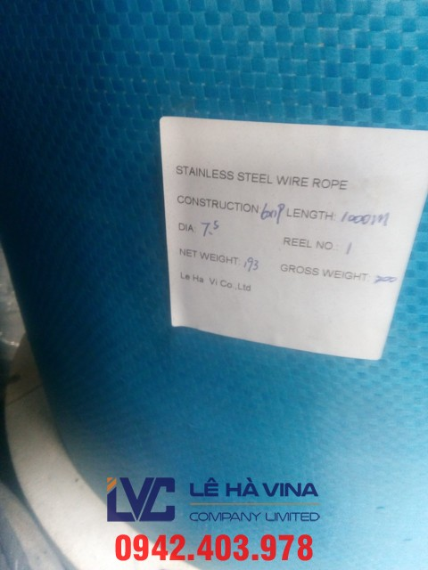 Cáp inox 304 6*12FC, cáp inox 304 6*12FC Trung Quốc, cáp inox, cáp inox 304, cáp thép inox 304